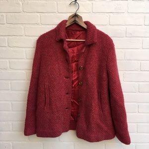 Vintage Red Knit Sweater Jacket